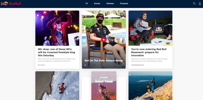 Red Bull Webseite